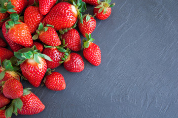 Fresh strawberries on a gray background with copy space