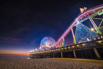 Santa Monica Pier & Ferris Wheel at Night, Long Exposure, Los Angeles California