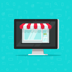 Online shop on computer vector illustration, e-commerce store, internet shop isolated, flat cartoon laptop as ecommerce on-line store facade building on screen, digital showcase on pc