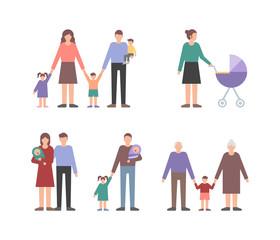 Family people set vector illustration flat style