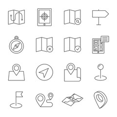 Map, navigation, pins set of vector icons outline style