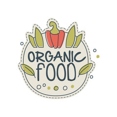 Organic food logo template design, badge for healthy food store, vegan shop, vegetarian cafe, ecology company, natural products, eco market, farming hand drawn vector Illustration