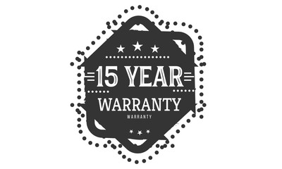 15 years warranty icon vintage rubber stamp guarantee