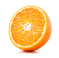 Wall Mural - half of ripe orange isolated on white background