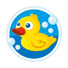 Rubber duck bath toy vector illustration