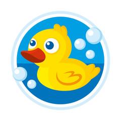 Rubber duck bath toy vector illustration