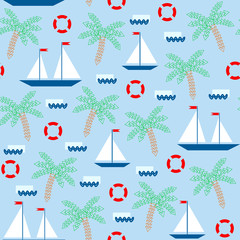 Seamless pattern with simple geometric sailboats on the abstract waves. Sailing ships, lifebuoys, palm trees on blue background.
