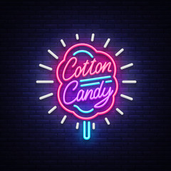 Cotton candy neon sign. Cotton candy logo in neon style symbol banner light, bright cotton candy night advertising, billboard. Design template. Vector illustration