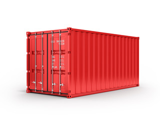 Red cargo shipping container without inscription on white background 3d