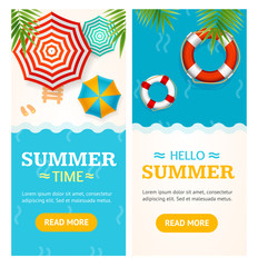 Hello Summer Time Banner Vecrtical Set. Vector