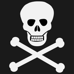 Crossbones / death skull, danger or poison flat icon for apps and websites