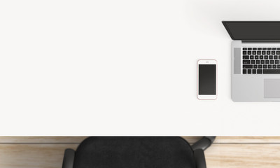 Modern workplace with laptop, coffee cup and smartphone or tablet copy space on white table background. Top view. Flat lay style.