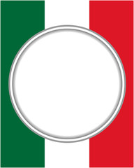 Italian abstract flag round frame with empty space for text.