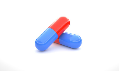 Two pills isolated 3d illustration