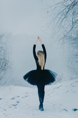a ballerina girl in a black dress stands on the river Bank rising on her socks with her back