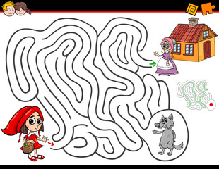 cartoon maze activity with little red riding hood