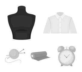 A man's shirt, a mannequin, a roll of fabric, a ball of threads and knitting needles.Atelier set collection icons in monochrome style vector symbol stock illustration web.