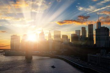 Sun shines on New York City downtown Manhattan skyline
