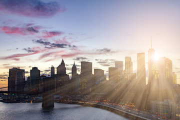 New York City Colorful Skyline Sunlight