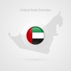 UAE map dotted contour vector sign. United Arab Emirates flag circle symbol. Country illustration icon for presentation, project, advertisement, sport event, travel, concept, web design, business