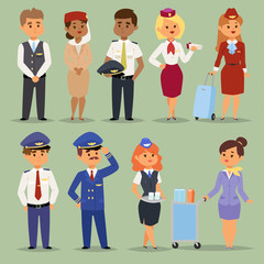 Officers flight pilots flight attendants vector people. Stewardesses and pilots flight attendants isolated pilot and air hostess flight attendant. Flight captain professional male and femail