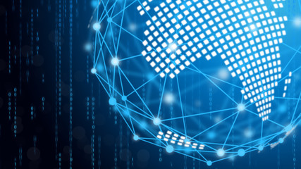 Blue technology circle and computer science abstract background with blue and binary code matrix. Business and Connection. Futuristic and Industry 4.0 concept. Internet cyber and network theme.