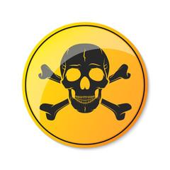 Skull and crossbones, warning icon. Vector illustration.