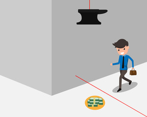 Investment risk. Business man with trap, businessman walking to money and trap on head. cartoon business risk vector illustration.