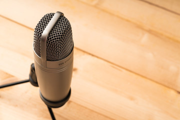closed up Studio microphone with copy space for text