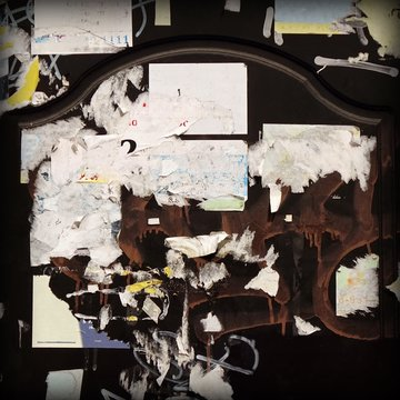 Old Billboard With Torn Poster, Paper, Ads, Stickers Frame Backgroun