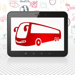 Tourism concept: Tablet Computer with  red Bus icon on display,  Hand Drawn Vacation Icons background, 3D rendering