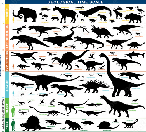 Geological timeline scale prehistoric animals vector silhouettes
