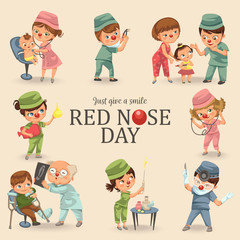 set red nose day greeting card, medical doctor in hospital with stethoscope helping little patient wear funny clownnose, nurse help childrens health care, charity concept vector illustration
