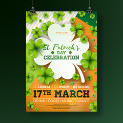 Saint Patrick's Day Party Flyer Illustration with Clover and Typography Letter on Abstract Background. Vector Irish Lucky Holiday Design for Celebration Poster, Banner or Invitation.