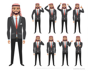 Arab businessman character set of emotions and poses.