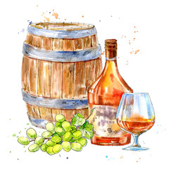 Bottle of cognac,wooden barrel,grapes and glasses.Picture of a alcoholic drink.Watercolor hand drawn illustration.White background.