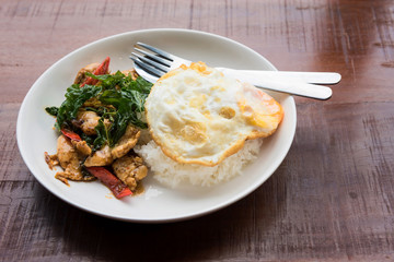 Thai basil chicken fried rice with egg