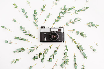 Flat lay, top view minimal composition with retro photo camera in frame of eucalyptus branch on white background. Photographer concept.