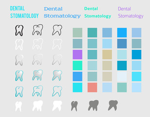 dental set design elements color style icons fonts