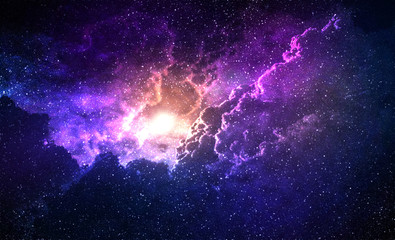 Cosmic Galaxy Background with nebula, stardust and bright shining stars