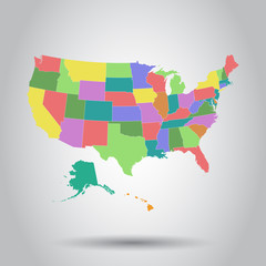 Vector illustration of a High Detail USA Map with federal states