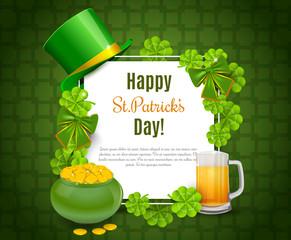 Saint Patricks Day Card with Treasure of Leprechaun, Green Hat on orange Background.