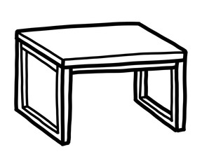 table / cartoon vector and illustration, black and white, hand drawn, sketch style, isolated on white background.