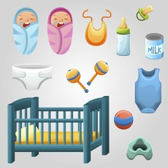 Set of kid stuff, food and toys. Newborns. Baby food, bottle and dry milk can and a dummy. Baby clothes and diaper. Baby ball, crib and rattle. Toddler accesories isolated on white background