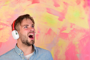 Musical lifestyle. European guy have fun time.