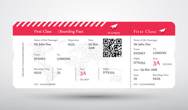 Boarding pass ticket vector. First class boarding pass design background. Vector illustration of airline boarding pass. Boarding pass ticket.