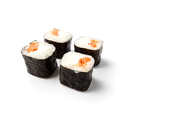 Makizushi. Delicious sushi rolls on white.  Maki