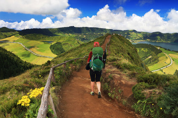 Wall Mural - Trekking at Sete Cidades, Sao Miguel Island, Azores, Europe