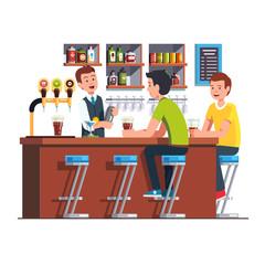 Bartender serving client. Barman making cocktail
