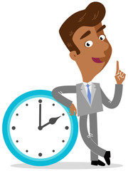 Vector illustration of an asian cartoon businessman leaning on giant clock isolated on white background
